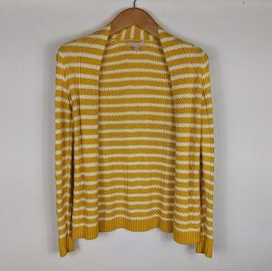 Banana Republic | Yellow striped cable cardigan XS